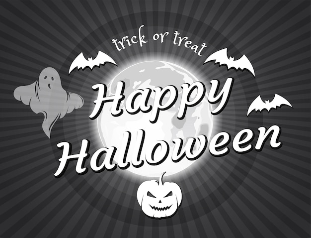 Halloween vintage movie. happy halloween. old movie ending screen. halloween design in the style of black and white retro film. vector illustration