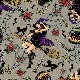 빗자루에 비행 하는 아름 다운 마녀와 할로윈 빈티지 완벽 한 패턴