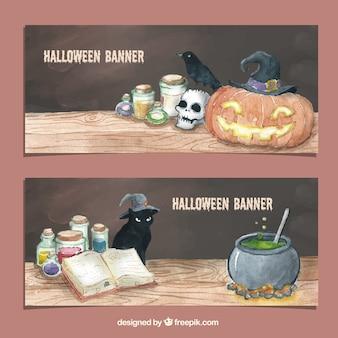 Banner di acquerello di halloween