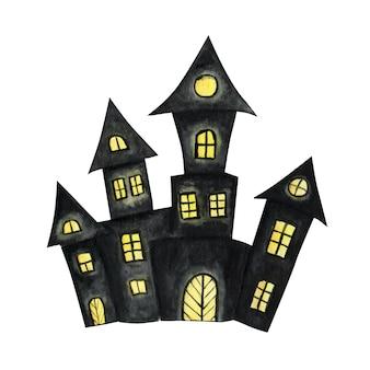 Хэллоуин акварель черный ужасный силуэт замков. элемент дизайна концепции ночи хэллоуина. иллюстрация значка.