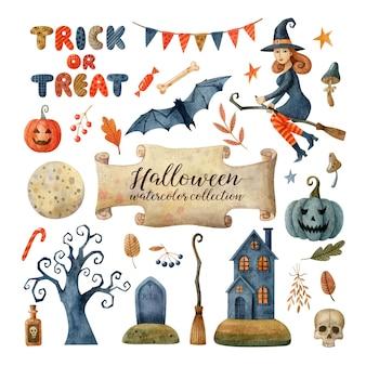 Хэллоуин акварель клипарт на белом фоне традиционные символы хэллоуина