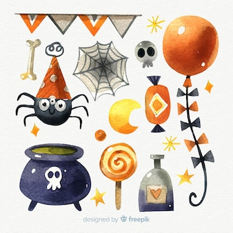 Halloween watercolor elements collection