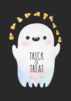 Halloween, watercolor ghost playing candy corn.