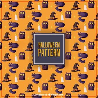 마녀의 할로윈 수채화 패턴