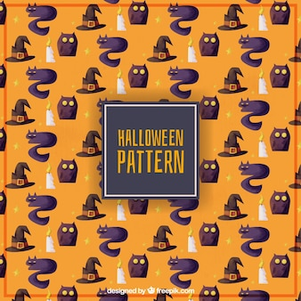 Halloween watercolor pattern of witch