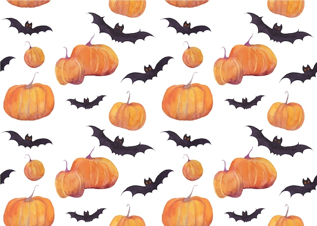 Halloween watercolor pattern with pumpkins and bats