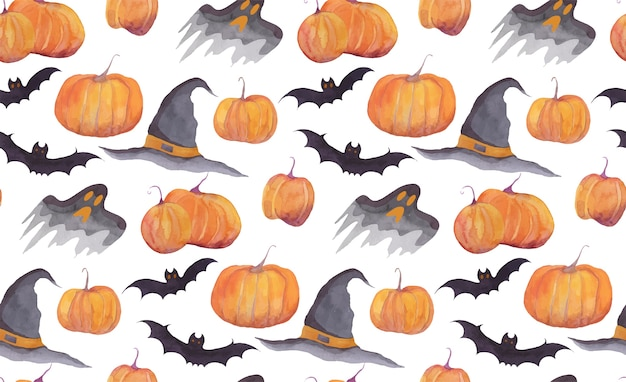 Halloween watercolor pattern with pumpkins