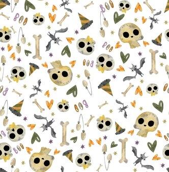 Хэллоуин акварельный узор со страшными элементами