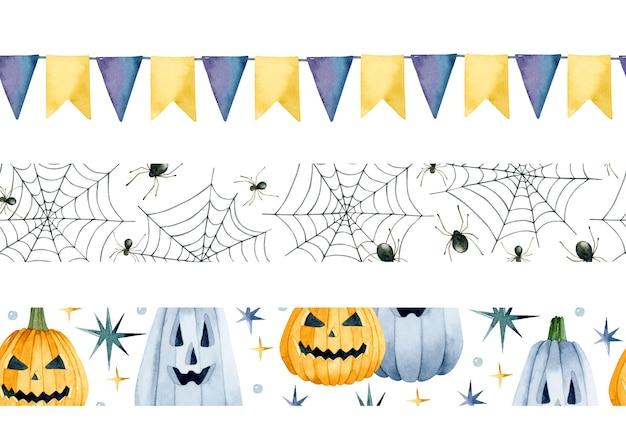 Halloween watercolor seamless borders set