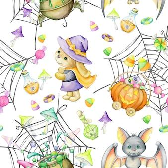 Halloween, watercolor seamless pattern. bunny, bat, pumpkin, candy, mushrooms, potion, spider web.