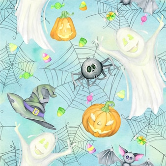 Halloween, watercolor seamless pattern. digital paper, on a turquoise background.