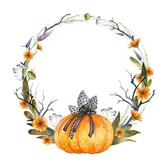 カボチャと秋の花とハロウィーンの水彩画の花輪