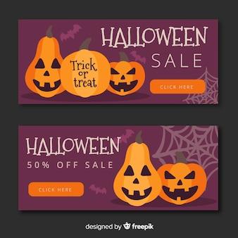 Коллекция баннеров на хэллоуин с плоским дизайном