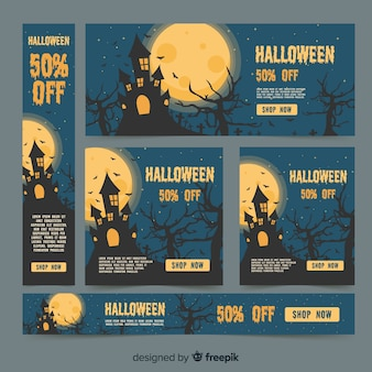 Halloween web banner collection with flat design