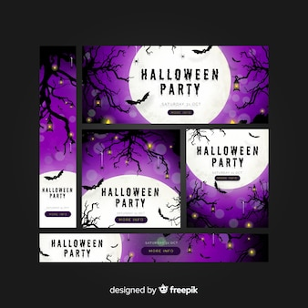 Halloween web banner collection with realistic design