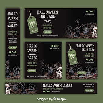 Halloween web sale banner set