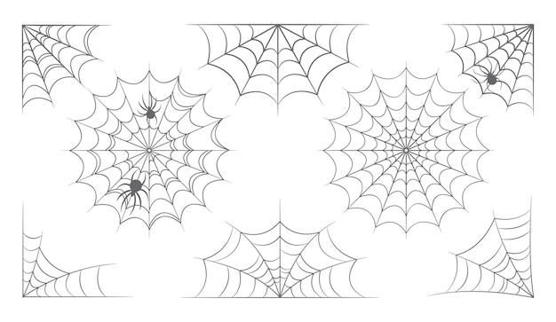 ハロウィーンのウェブ、蜘蛛の巣、蜘蛛の巣のセット。グリーティングカードの装飾、昆虫の罠、クモの網のための孤立した怖い要素