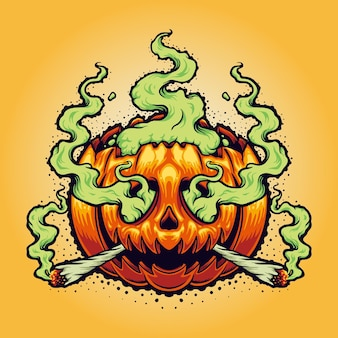Halloween weed smoke cartoon vector illustrations for your work logo, mascot merchandise t-shirt, stickers and label designs, poster, greeting cards advertising business company or brands.