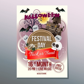 Halloween week festival day poster with haunted house