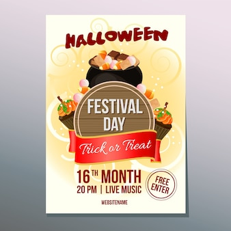 Halloween week festival day poster with pot of candy