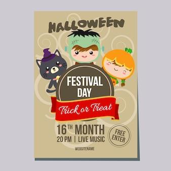 Halloween week poster with costume kids
