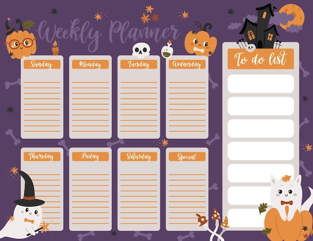 Halloween weekly planner page template. to do list with cute pumpkins, ghosts in cartoon style