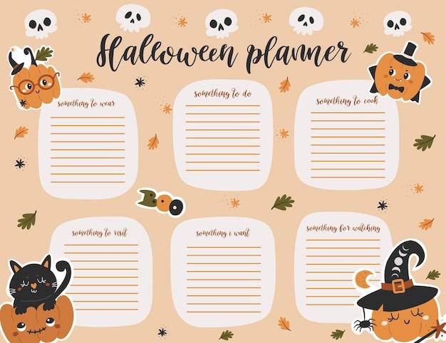 Шаблон страницы еженедельного планировщика хэллоуина. список дел с милыми тыквами в мультяшном стиле