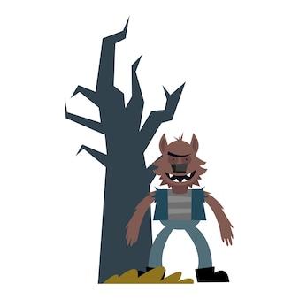 Мультфильм оборотня на хэллоуин с голым деревом, с праздником и страшно