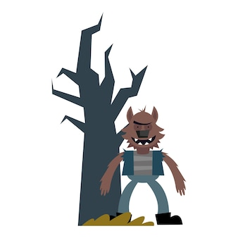 Halloween werewolf cartoon with bare tree , happy holiday and scary Premium Vector