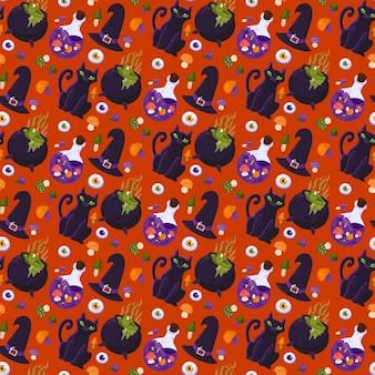 ハロウィーンの魔女アクセサリーシームレスパターンベクトル。帽子と猫の家畜、きのこ、目の材料を調理し、ポーションを準備します。秋の季節の休日フラット漫画イラスト