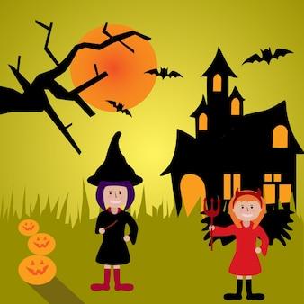 ハロウィーンの魔女と狩猟城の背景を持つ子供たち