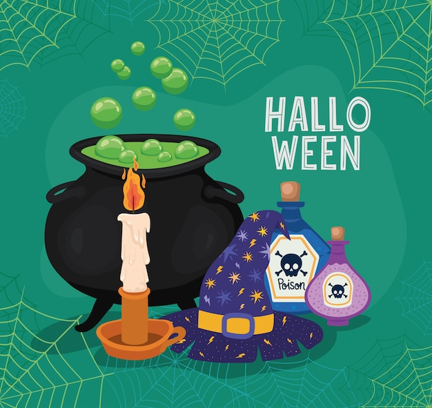 Halloween witch bowl hat candle and poisons with spiderwebs frame design, holiday and scary theme