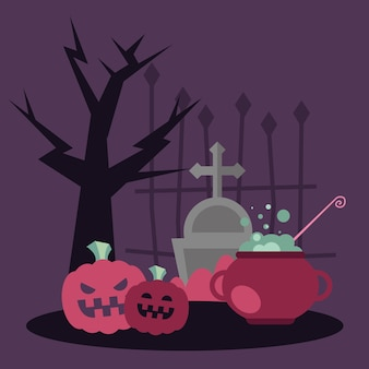 Halloween witch bowl and pumpkins design, scary theme