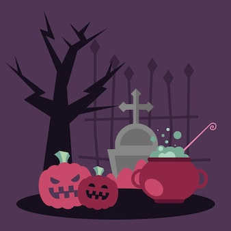 Halloween witch bowl and pumpkins, holiday and scary illustration