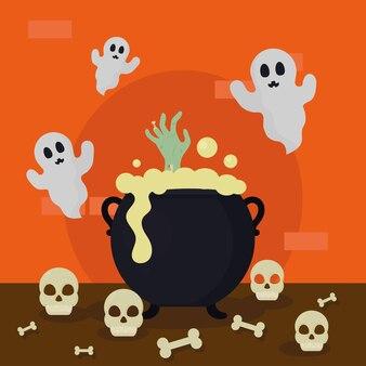 Хэллоуин ведьмы котел и призраки