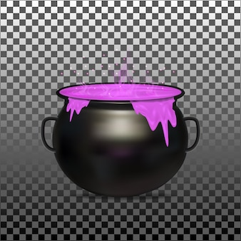 Halloween witch cauldron on transparent background