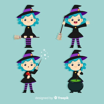 Halloween witch character collection with flat design