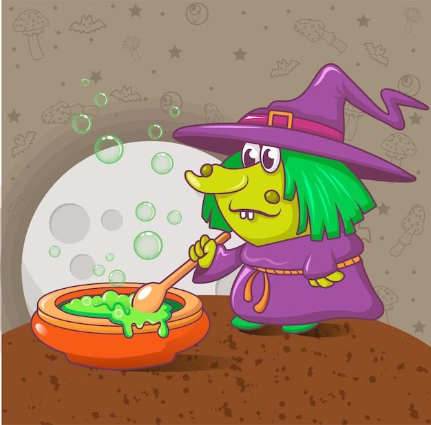 Хэллоуин концепция ведьмы, мультяшном стиле