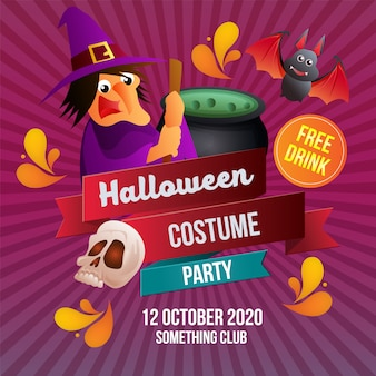 Halloween witch costume party template