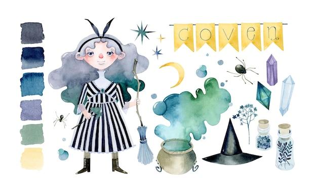 Набор акварельных элементов шабаша ведьм на хэллоуин