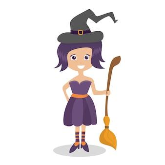 Хэллоуин ведьма - забавный персонаж изолированный элемент из набора для праздничного дизайна и рекламы векторные иллюстрации