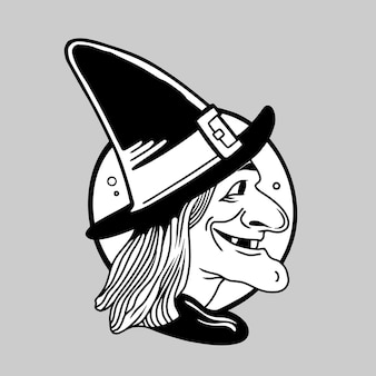 Halloween witch hand drawing illustration vector