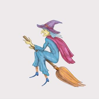 Хэллоуин ведьма шляпа жуткая иллюстрация