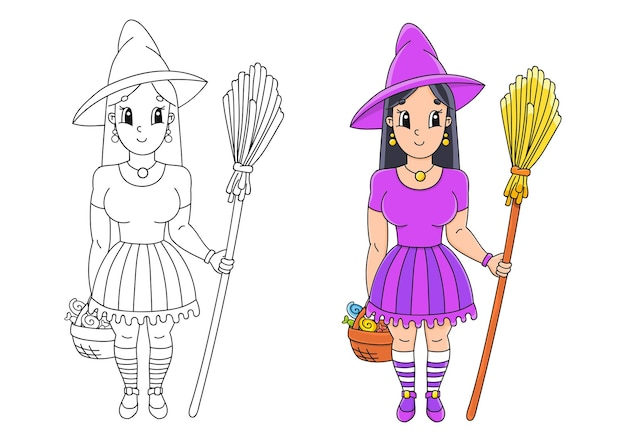 Halloween witch in hat with broom coloring book page for kids