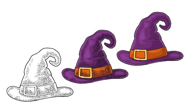 バックルとハロウィーンの魔女の帽子ベクトル色とフラットなヴィンテージの彫刻白で隔離
