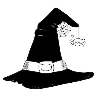 Halloween witch hat with spider illustration
