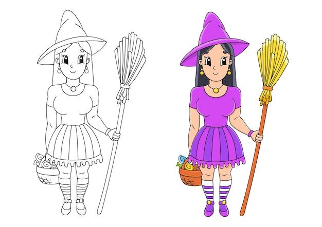 ほうきで帽子をかぶったハロウィーンの魔女子供のための塗り絵ページ