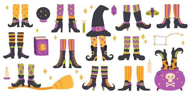 Halloween witch legs funny witch legs in striped socks boots witchcraft cauldron and hat vector set