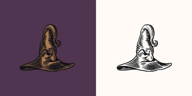 ハロウィーンの魔女の魔法の帽子神話の服手描き刻まれたヴィンテージスケッチ