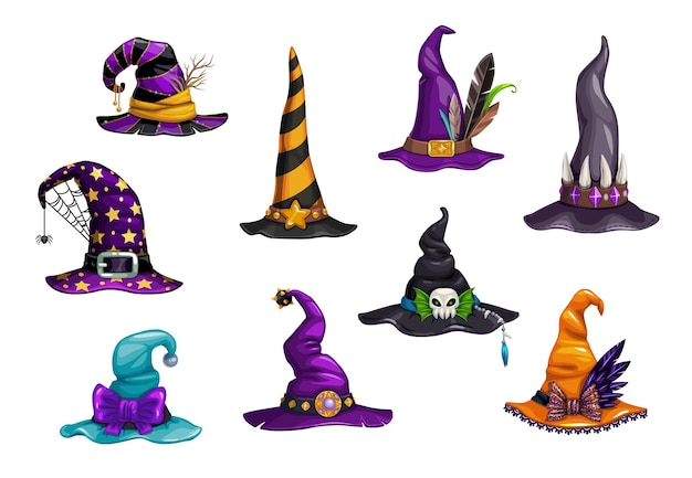 Halloween witch, magician and wizard hats or caps